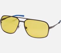 Rechteckige Sonnenbrille Mit Fassung Aus Rutheniumfarbenem Metall