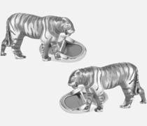Zociac Sign Manschettenknöpfe Aus Silber In Tigerform