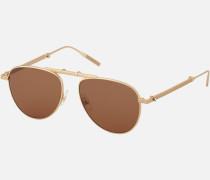Faltbare Eckighe Sonnenbrille Mit Fassung Aus Goldfarbenem Metall