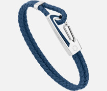 Armband Aus Geflochtenem Blauem Leder Mit Karabinerschließe Aus Edelstahl Und Blauer Lackintarsie