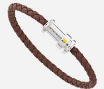 Armband Aus Geflochtenem Braunem Leder Mit Verschluss Aus Edelstahl Und Drei Ringen