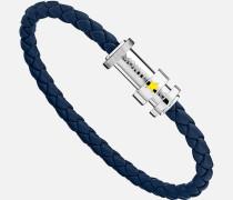 Armband Aus Geflochtenem Blauem Leder Mit Drei Ringen
