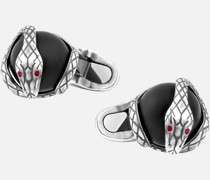 Manschettenknöpfe Mit Schlangenmotiv In Silber Mit Onyxkugel