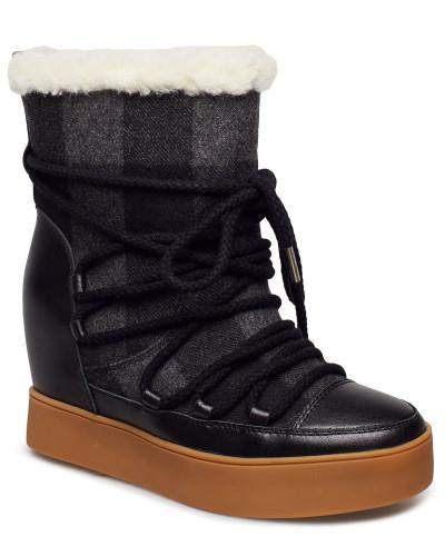 Trish Check Wool Boots Knöchelhohe Stiefel Schwarz