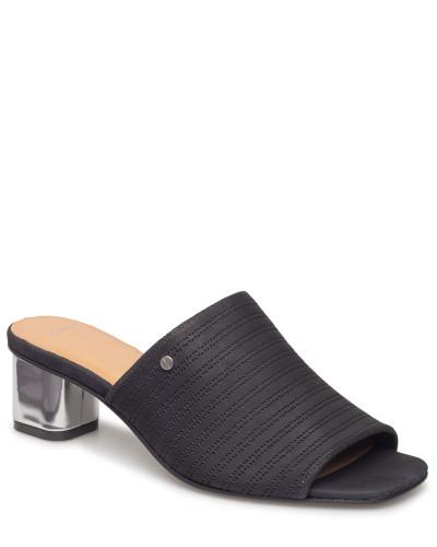 Simona Leather Mule Sandale Mit Absatz Schwarz