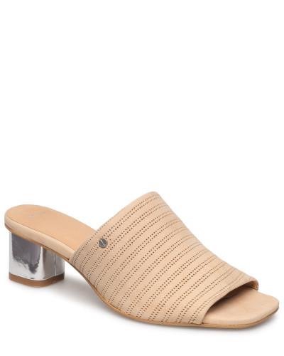 Simona Leather Mule Sandale Mit Absatz Beige
