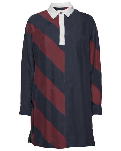 Tommy Icons Rugby Seidenkleid Ls Kleid Knielang Blau