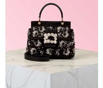 Mini Tasche Viv' Cabas Paisley mit Flower Strass-Schnalle aus Samt