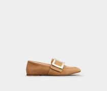 Soft Loafer mit Metallschnalle aus Veloursleder