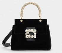 Mini Tasche Viv' Cabas Jewel mit Flower Strass-Schnalle aus Samt