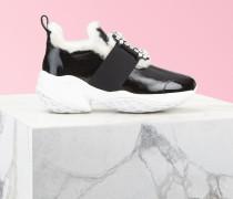 Sneakers Viv' Run Shearling Strass-Schnalle aus Lackleder