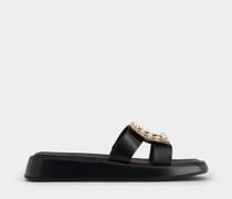 Mules Vivier Slide mit Stass-Schnalle aus Leder