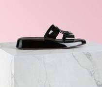 Mules Vivier Slide mit bezogener Schnalle aus Lackleder