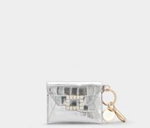 Mini Münzgeldbeutel Très Vivier mit Strass-Schnalle aus Leder
