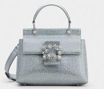 Mini Tasche Viv' Cabas Bling mit Flower Strass-Schnalle aus Leder