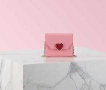 Mini Portemonnaie Heart Strass aus Leder