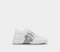 Sneakers Viv' Skate Glitter mit Strass-Schnalle aus Nappaleder