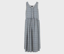 Kleid aus Mattem Satin mit Fischgratmuster