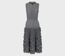 Kleid mit Hahnentrittmuster und Geprägtem Rock