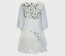 Kleid aus Zwei Stoffen mit Blattprint