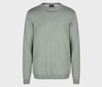 Pullover mit Rundhalsausschnitt aus Seide und Baumwolle