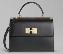 Handtasche Borgonuovo 11 aus Glattem Leder mit Drehverschluss und Plexiglas-Details