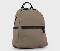 Rucksack aus Nylon mit Details aus Leder