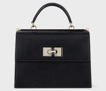 Handtasche aus Saffianleder mit Drehverschluss und Details aus Plexiglas