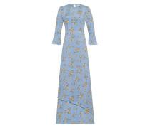 Maxi Kleid mit floralem Print hellbau