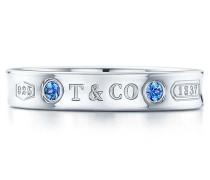 Tiffany 1837™ schmaler Ring in Sterlingsilber mit Montana Saphiren