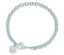Halskette mit Herzanhänger und Knebelverschluss in Sterlingsilber