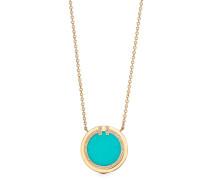 Tiffany T Circle Anhänger mit Diamant und Türkis in 18 Karat Gold