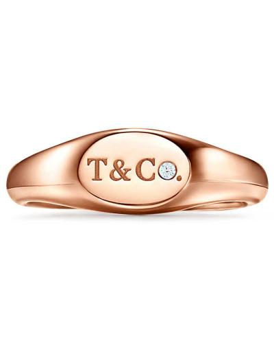 Tiffany & Co® schmaler ovaler Siegelring in Roségold mit Diamanten