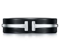 Tiffany T breiter Ring in Titan und Sterlingsilber