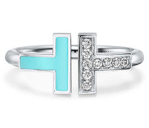 Tiffany T Wire Ring mit Diamanten und Türkis in 18 Karat Weißgold