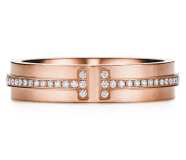 Tiffany T schmaler Diamantring in 18 Karat Roségold
