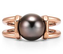 Tiffany City HardWear Ring mit schwarzer Tahitiperle in 18 Karat Roségold