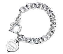 Armband mit Herzanhänger und Knebelverschluss aus Sterlingsilber