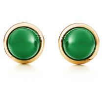 Elsa Peretti® Cabochon Ohrringe aus 18 kt Gold mit grüner Jade