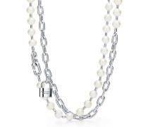Tiffany City HardWear Halskette mit Süßwasserperlen und Schloss in Silber