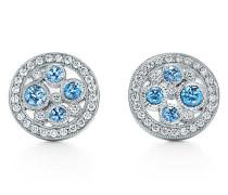 Tiffany Cobblestone Ohrringe in Platin mit Diamanten und Saphiren