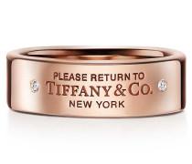 Return to Tiffany™ schmaler Ring in 18 Karat Roségold mit Diamanten
