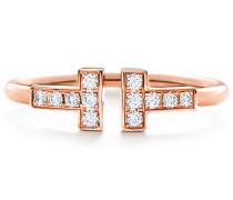 Tiffany T Wire Ring mit Diamanten in 18 Karat Roségold