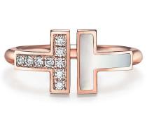 Tiffany T Wire Ring mit Diamanten und Perlmutt in 18 Karat Roségold