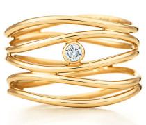 Elsa Peretti® Wave fünfreihiger Diamantring in 18 Karat Gold