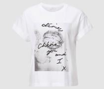 T-Shirt mit Print und Strass