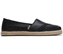 Schuhe Schwarze Leder Espadrilles