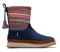 Blaue Suede Nepal Tweed Makenna Stiefel