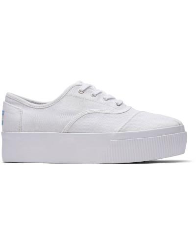 Weisse Canvas Cordones Plateau-Sneaker