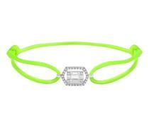 Kordel-Armband mit fluoreszierenden grünen Diamanten im Baguette-Schliff
